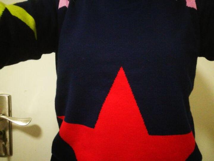 金姿衣2017秋冬新款韩版百搭宽松针织衫女打底衫长袖套头毛衣女星星 藏青色 均码80-130 晒单图
