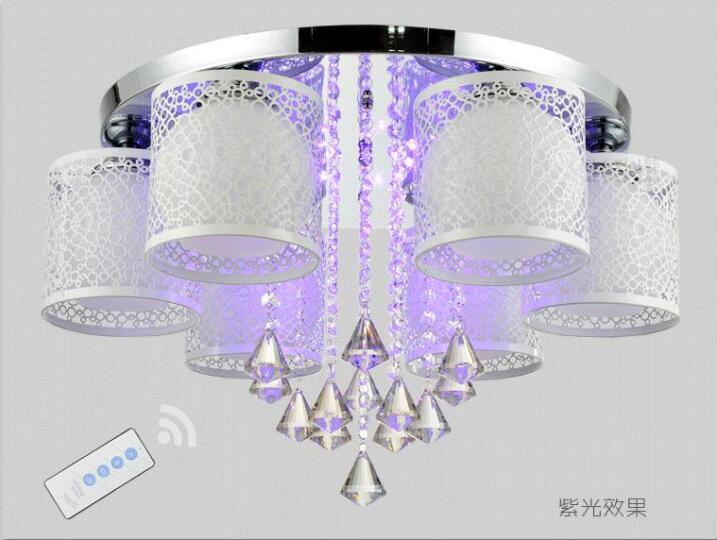 led吸顶灯客厅灯水晶灯具现代简约温馨房间灯可调光变色大厅灯卧室餐厅吊阳台灯饰套餐抖音网红推同款荐 10头炫彩遥控+送10个LED灯泡 白光 晒单图