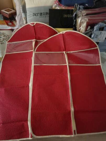 衣服防尘罩套衣服罩西服罩居家收纳用品 酒红色 (6个小号+4个中号) 晒单图