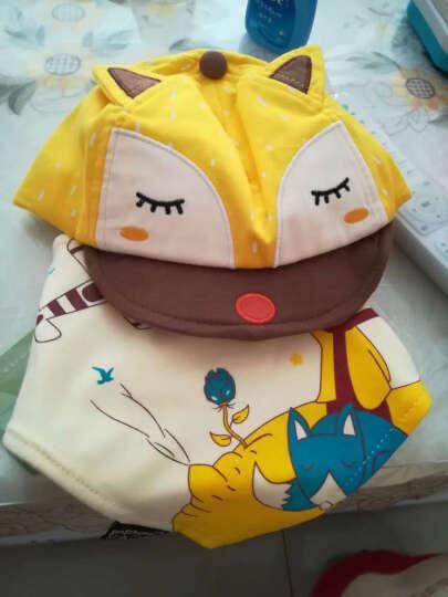 婴儿帽子春秋纯棉宝宝帽6-12-24个月全棉保暖帽儿童帽子鸭舌帽 黄色(鸭舌狐狸套装) 晒单图