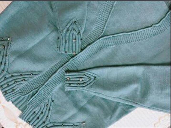 佳祺汐尚 针织衫女开衫2017秋装新款披肩外套短款毛衣 钉珠款绿色 优质面料 晒单图