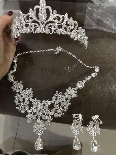 玛诗提娜  新娘皇冠三件套装婚纱饰品头饰结婚礼首饰项链耳环婚庆配饰 B款全套(耳夹) 晒单图