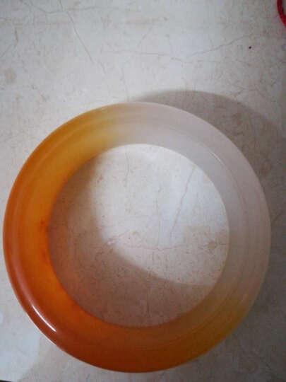 新疆和田金丝玉手镯 天然糖白戈壁黄玉女款玉镯子宽窄版白玉手镯 内径54-55mm 晒单图