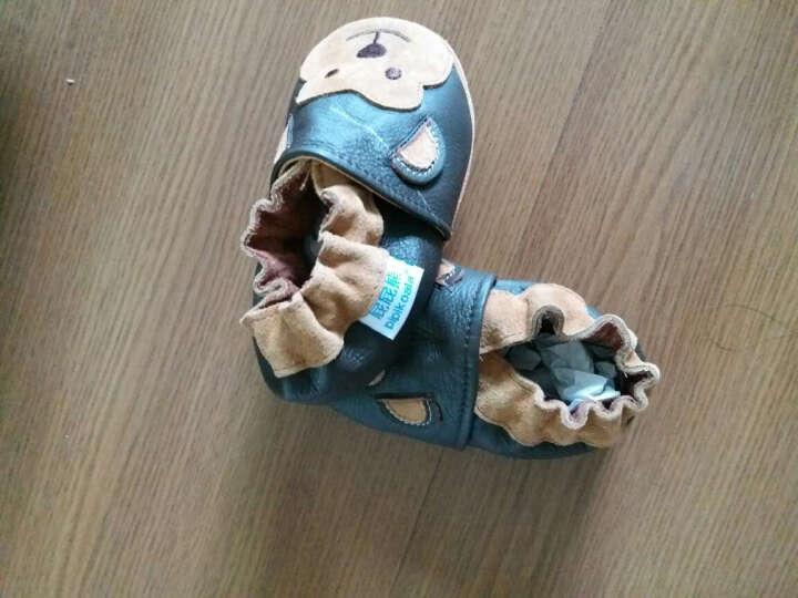 屁屁熊(PIPI KOALA) 牛皮软底婴儿鞋春秋款学步鞋0-1-2岁男女宝宝防掉室内鞋 蓝色小恐龙 6-12月/内长12.5CM 晒单图