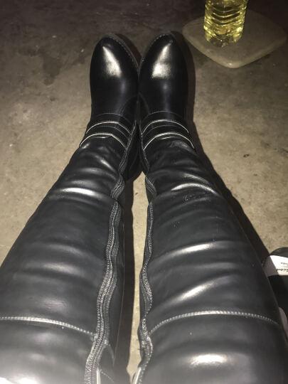 2017新款长靴子女冬季过膝长靴高跟防水台女靴高筒弹力长筒靴 151-7黑色 35 晒单图