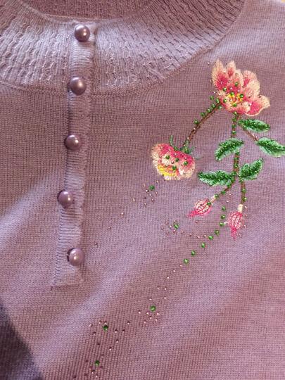 绒世精灵妈妈装毛衣打底衫中老年女装秋装针织衫中年女羊毛衫长袖宽松上衣 深紫 XL 晒单图