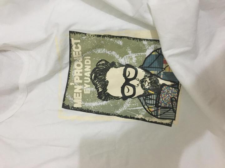 诺伦迪尔 韩版个性春秋潮男装长袖衬衣打底短T恤男士加大码T恤圆领秋衣 T18 白色 XXL 狗头黑长 XL 晒单图