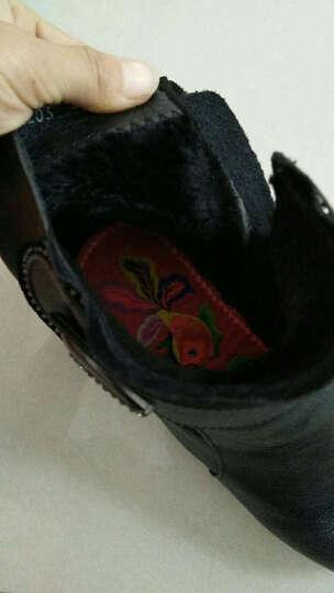 米诗颖 新款真皮女靴平底大码妈妈鞋棉鞋加绒防滑中老年女鞋坡跟短靴舒适保暖棉靴子 203黑色 35 晒单图
