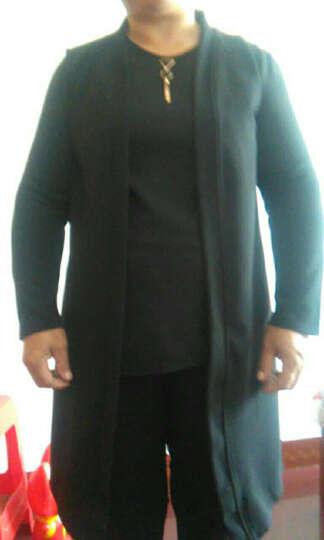 忆纯绒 中老年女装三件套妈妈装春秋装套装中长款外套长袖上衣40-50岁长裤 黑色(58141) 5XL 晒单图