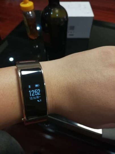 华为(HUAWEI)华为手环B3   (蓝牙耳机与智能手环结合+金属机身+触控屏幕+真皮腕带) 商务版 摩卡棕 晒单图