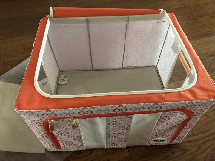百草园 牛津布三面可视收纳箱 衣服杂物整理箱储物箱 大号60L 1个装 橘黄色 晒单图