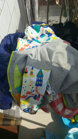 大眼睛比布(BABiBOO)新品秋冬新款童装儿童外套男女童连帽开衫宝宝棉上衣潮 浅灰色 90 晒单图