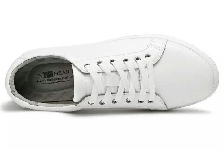 于心 板鞋 男鞋2017新款 皮鞋韩版小白鞋真皮运动休闲鞋 白色冲孔77002 38 晒单图
