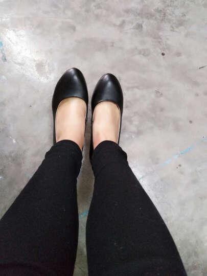 雅路世家新款正装中高跟职业鞋 圆头女单鞋 舒适妈妈鞋浅口工装皮鞋防水台舒适工作女鞋 3012黑色 37 晒单图