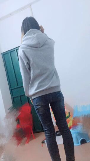 力恋秋冬宽松加绒卫衣女韩版潮学生连帽chic卫衣女套头中长款外套女3003 酒红色加绒加厚 L【建议116-130斤】 晒单图