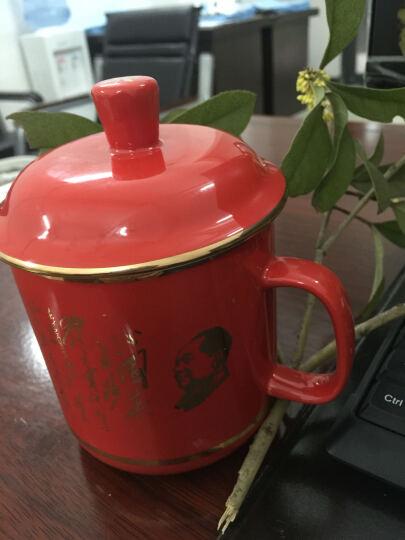 千红窑 茶杯陶瓷 带盖会议杯 办公杯 水杯 中国红瓷茶杯 主席诗词将军杯 描金骨瓷茶杯  晒单图