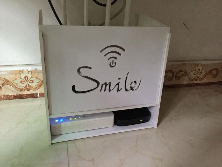 MOOV 收纳盒路由器无线wifi插线板电源电线机顶盒壁挂式架子墙上插座插排免打孔电线整理 三层小号 晒单图
