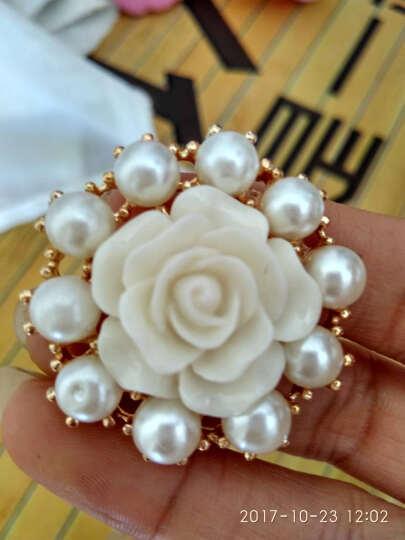 金属玫瑰花珍珠纽扣 时装女士大扣子装扮 皮草 裘皮大衣钮扣胸针 白色1颗 37mm 晒单图