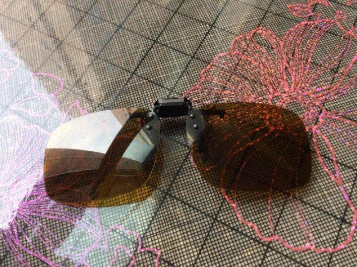 古牛(GoodNew)偏光近视太阳镜 套镜 夹镜司机开车眼镜上外加墨镜1518 棕框米黄脚灰偏光片 中码 晒单图