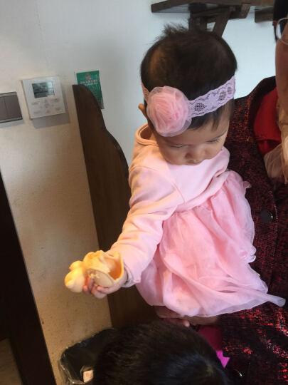 婴儿发带头饰柔软花朵弹力蕾丝女发带儿童婴发饰 圆纱花带粉色大号3-36个月 晒单图