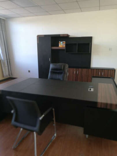 粤秀办公家具 老板桌大班台 简约钢木黑色 配套书柜(2900*400*2000)右柜 晒单图