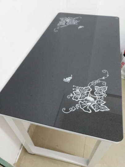 YQ 电脑桌家用钢化玻璃电脑桌台式钢木办公桌书桌 黑面+白板+白架 100*50*75 晒单图