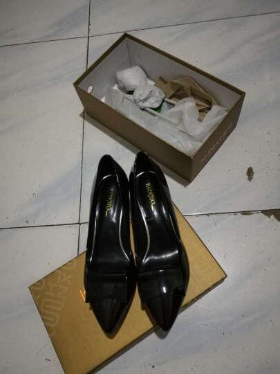 康娇单鞋女鞋方跟单鞋中跟休闲鞋女 黑色 34 晒单图
