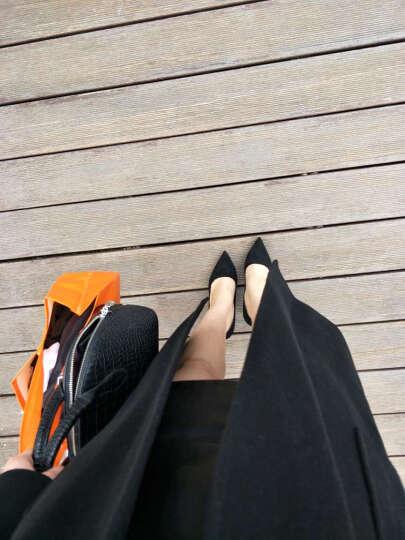 【全羊毛】哥弟女装2019秋季新款欧美腰带大口袋双面呢羊毛大衣长款外套女毛呢大衣女A400016 静谧蓝 L(4码) 晒单图