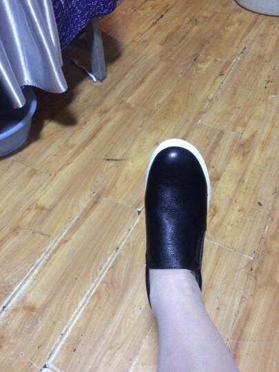 艾梵图女鞋真皮镂空透气休闲鞋套脚女士凉鞋隐形内增高平底乐福鞋 白色 36 晒单图