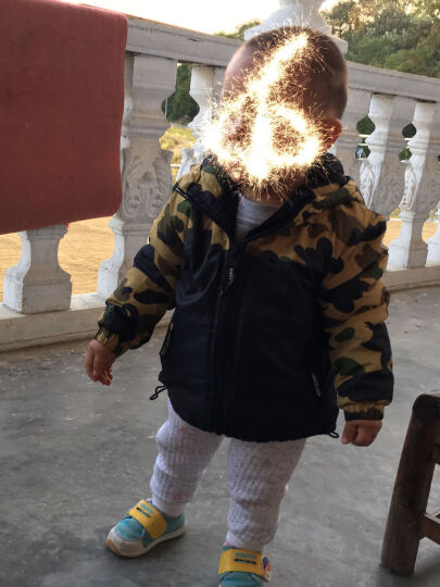 印象童年IK男童棉服小孩衣服中小童运动休闲外套男女宝宝棉衣冬装 绿色 90码建议身高80cm-88cm左右 晒单图