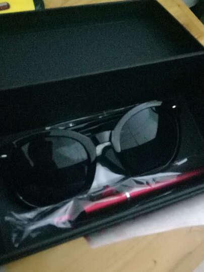 名客(Mincl)透明框箭头款墨镜女潮款太阳镜复古圆太阳眼镜同款28050 亮黑框全灰片 晒单图