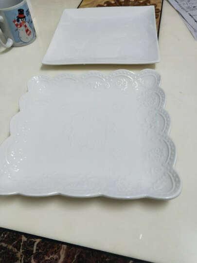 同光 异形酒店陶瓷餐具碟子西餐烘培牛排蛋糕早餐四方平盘纯白色创意意面盘子10寸牛排盘 8寸花仙子款边长20厘米 晒单图