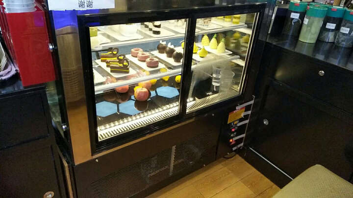 乐创(lecon)商用蛋糕柜冷柜冷藏保鲜柜台式除雾玻璃陈列柜水果饮料寿司熟食柜面包展示柜 黑色弧形风冷带防雾 后开门1.2米*0.67*1.18(落地式) 晒单图