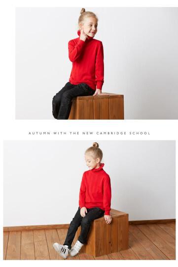 七匹狼童装女童毛衣针织衫多彩纯棉半高领线衫中大童线衣2018秋冬新品 深红色 130cm 晒单图