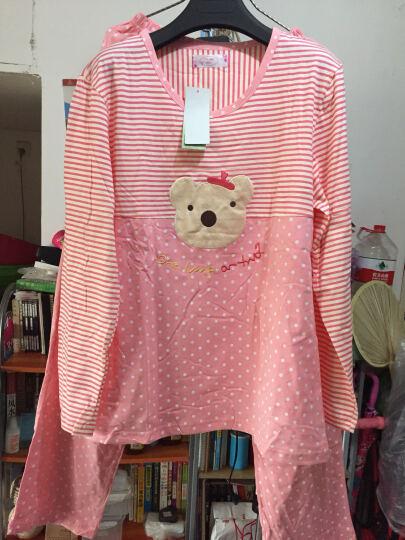 绿果 纯棉睡衣女夏季短袖七分裤棉质女士家居服可外穿休闲套装 3252 XXL(175) 晒单图