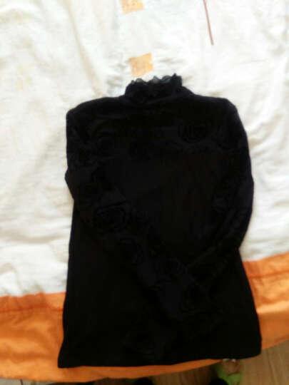 飒蕾打底衫女加绒新款大码网纱拼接打底上衣小衫 黑色波点 5XL 晒单图