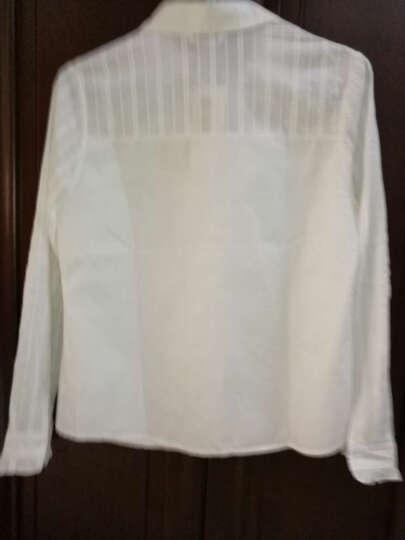 紫华 立领白色衬衫女长袖2019年新款纯棉修身显瘦百搭上衣工作服时尚洋气职业衬衣加绒加厚娃娃领打底衫 N-5842-888白色加绒 M 晒单图
