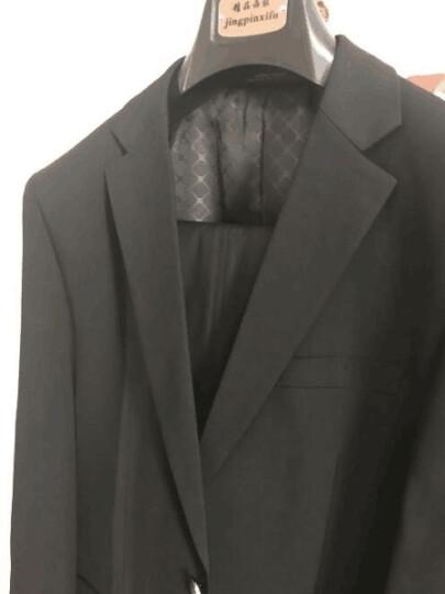 纱格 西服套装男士商务修身正装职业工作西装新郎结婚礼服 藏蓝色二扣 175/48 晒单图
