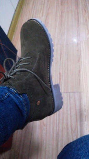 欧百特 真皮短靴女粗跟低跟平底圆头马丁靴子休闲大码女靴41 42 43码韩版裸靴 黑色(单里) 35(标准码3-4天发货) 晒单图
