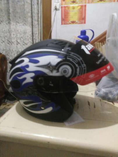 Tanked Racing 坦克/头盔T536电动车摩托车头盔男女通用款时尚安全帽大半盔 536亚黑-海之蓝 单镜片 XL 59-61cm 晒单图