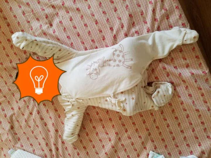 南极人(Nanjiren)婴儿连体衣新生儿系带护手护脚长袖衣服宝宝哈衣蝴蝶衣 星星棕-长颈鹿 52CM(建议0-1个月,5-9斤宝宝) 晒单图