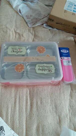 芮家德 大号304不锈钢分格饭盒成人中小学生便当盒分隔餐盘保温密封餐盒 大号粉色 晒单图