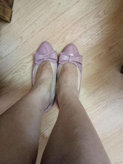 康娇(KONJIO)坡跟单鞋女新款韩版浅口尖头蝴蝶结舒适软底女鞋 黑色 34 晒单图