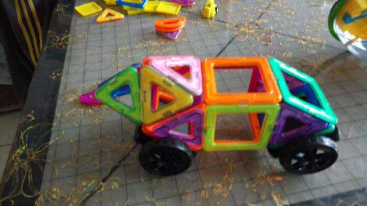 磁力片儿童力玩具积木动脑2-3-6岁男孩女孩磁吸力玩具 拼装 礼套装152件套(80磁力片+摩天轮+车轮+4D造 晒单图