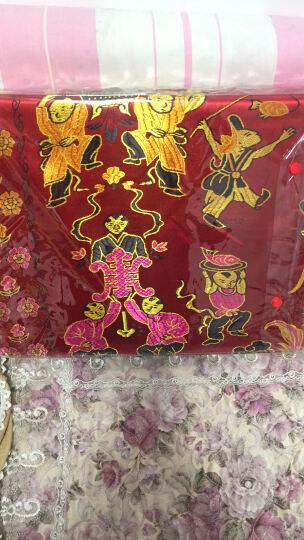 恒源祥集团彩羊家纺 丝绸织锦缎婚庆被套被面 绸锻被罩 结婚喜庆被龙凤百子图双人被套 绿色  200*230cm 晒单图