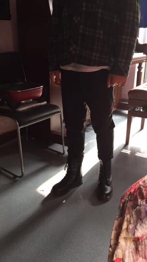 新款儿童马丁靴男童时尚短靴女童鞋2018春夏单靴冬季加绒保暖军靴学生黑色鞋子潮 2133有标高帮加绒 35 晒单图