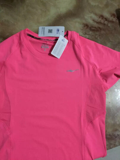 鸿星尔克erke 短袖T恤 女装新款速干棉运动跑步运动针织衫 荧光中玫红 L 晒单图