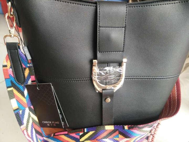 格子旗单肩包女士新款时尚斜挎包简约大容量韩版子母包女士包包送女友礼物 灰色(彩色肩带+黑色肩带) 晒单图