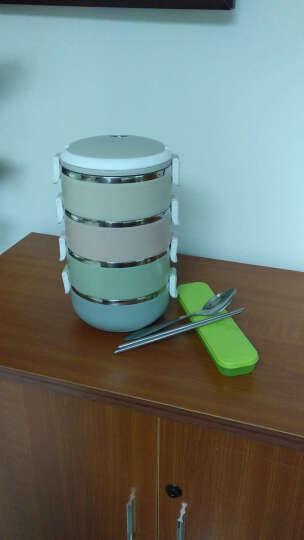 沃德百惠(WORTHBUY)不锈钢保温饭盒成人日式便当盒带盖学生餐盒大容量多层分格保温盒 绿色3层【送餐具套装】 晒单图