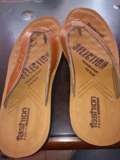 美泊客拖鞋男真皮人字拖男凉拖沙滩鞋夏季 棕色 42皮鞋码 晒单图